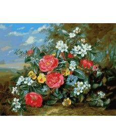 Картина по номерам Пионы и белые цветы 40 х 50 см (MR-Q2159)