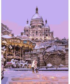 Картина по номерам Поцелуй в заснеженном Париже 40 х 50 см (KHO4533)