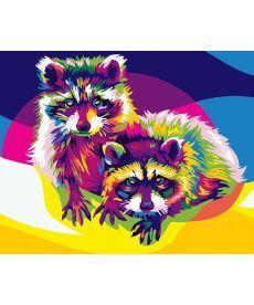 Картина по номерам Радужные еноты 40 х 50 см (BK-GX26202)