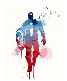 Картина по номерам Капитан Америка Акварель 40 х 50 см (BK-GEX5682)