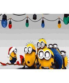 Картина по номерам Новогодние миньоны 40 х 50 см (BK-GX26272)