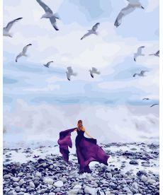 Картина по номерам В фиолетовом платье 40 х 50 см (BK-GX26309)