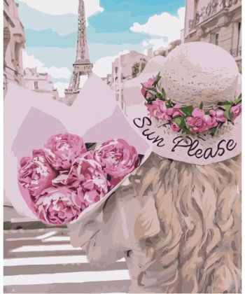 Картина по номерам Влюбленная в Париж 40 х 50 см (KHO4551)