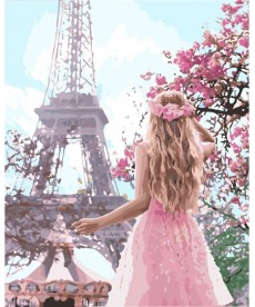 Картина по номерам Влюбленная в Париж 40 х 50 см (KHO4568)