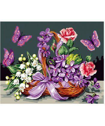 Картина по номерам Бабочки у корзины с цветами 40 х 50 см (BK-GX24093)  - Фото 1