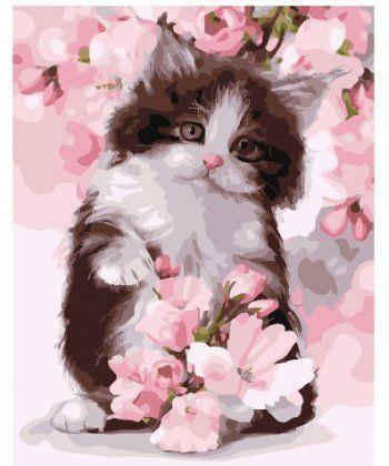 Картина по номерам Котик в цветах яблони 40 х 50 см (BK-GX24603)  - Фото 1