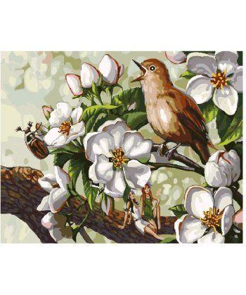 Картина по номерам Пение птицы в цветах 40 х 50 см (BK-GX25294)  - Фото 1