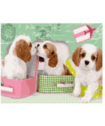 Картина по номерам Милые щеночки в чемоданах 40 х 50 см (BK-GX25358)  - Фото 1