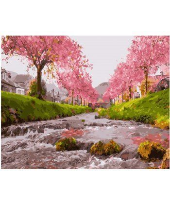 Картина по номерам Река у сакуры 40 х 50 см (BK-GX25577)  - Фото 1
