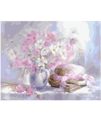 Картина по номерам Белый натюрморт с космеями 40 х 50 см (BK-GX25611)  - Фото 1