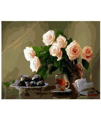 Картина по номерам Кремовые розы на столе 40 х 50 см (BK-GX25827)  - Фото 1