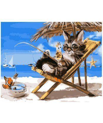 Картина по номерам Котик на каникулах 40 х 50 см (BK-GX26079)  - Фото 1