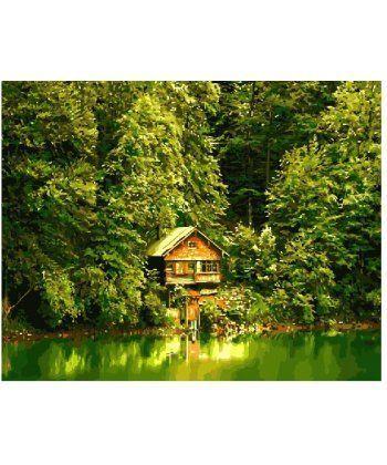 Картина по номерам Дом у пруда 40 х 50 см (BK-GX8896)  - Фото 1