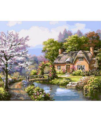 Картина по номерам Тихий дом у лесу 40 х 50 см (BK-GX9885)  - Фото 1