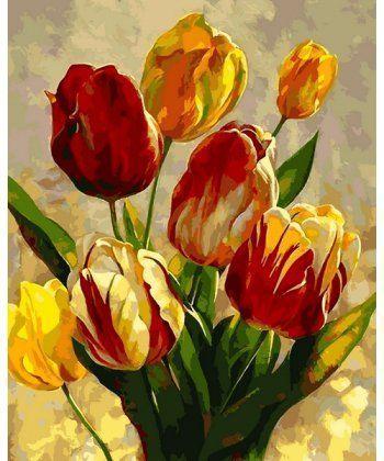 Картина по номерам Весенние тюльпаны 40 х 50 см (MR-Q2182)  - Фото 1