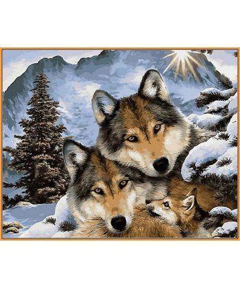Картина по номерам Семья волков (в раме) 40 х 50 см (NB1023R)  - Фото 1