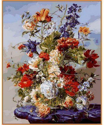 Картина по номерам Букет на пурпурном столике (в раме) 40 х 50 см (NB1040R)  - Фото 1