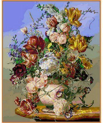Картина по номерам Желтые тюльпаны и пионы (в раме) 40 х 50 см (NB1041R)  - Фото 1