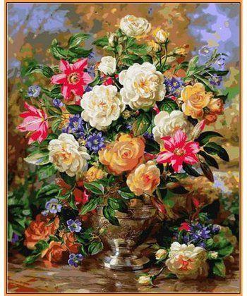 Картина по номерам Лилии и желтые розы (в раме) 40 х 50 см (NB1052R)  - Фото 1