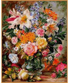 Картина по номерам Букет из роз и лилий (в раме) 40 х 50 см (NB1056R)