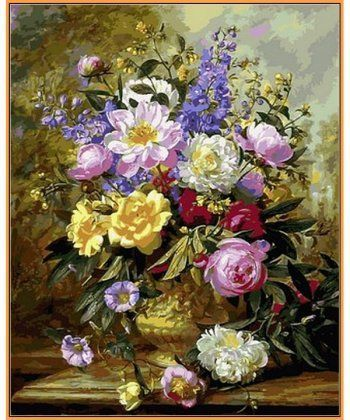 Картина по номерам Букет белых и желтых роз (в раме) 40 х 50 см (NB1058R)  - Фото 1