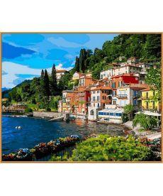 Картина по номерам Италия Озеро Комо (в раме) 40 х 50 см (NB1086R)