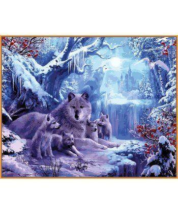 Картина по номерам Волчья зима (в раме) 40 х 50 см (NB1101R)  - Фото 1