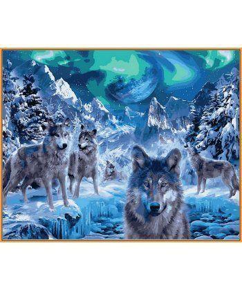 Картина по номерам Волки и северное сияние (в раме) 40 х 50 см (NB1102R)  - Фото 1