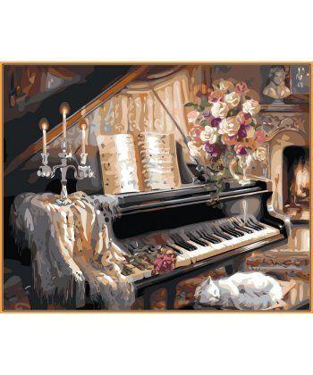 Картина по номерам Музыкальный вечер у камина (в раме) 40 х 50 см (NB124R)  - Фото 1