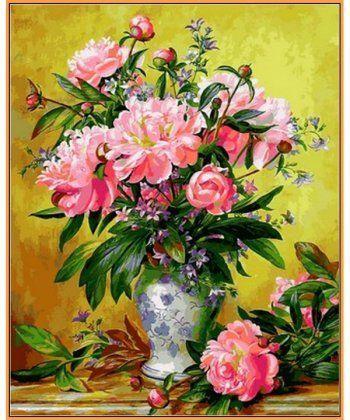 Картина по номерам Пионы в изящной вазе (в раме) 40 х 50 см (NB2164R)  - Фото 1