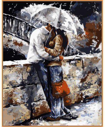 Картина по номерам Любовь под дождем (в раме) 40 х 50 см (NB314R)  - Фото 1