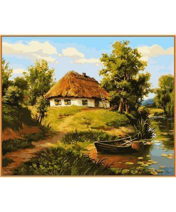 Картина по номерам Домик возле пруда (в раме) 40 х 50 см (NB356R)  - Фото 1