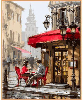 Картина по номерам Лондонское кафе (в раме) 40 х 50 см (NB442R)  - Фото 1