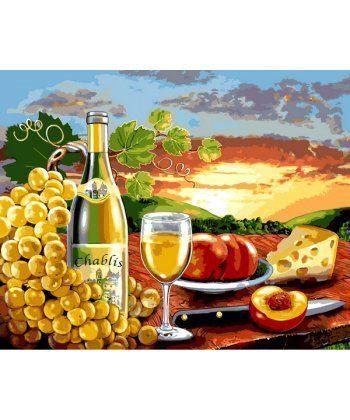 Картина по номерам Белое вино с фруктами 40 х 50 см (VP1110)  - Фото 1