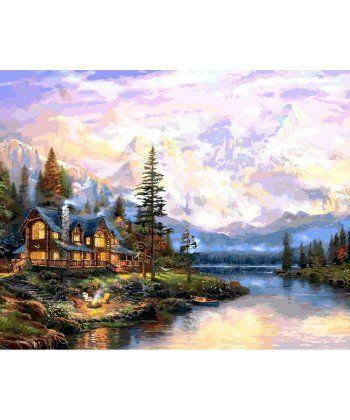 Картина по номерам Дом у горного озера 40 х 50 см (VP1113)  - Фото 1