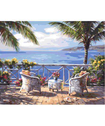 Картина по номерам Терасса с видом на море 40 х 50 см (BK-GX4824)  - Фото 1