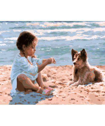 Картина по номерам Девочка с собакой на пляже 40 х 50 см (BK-GX7963)  - Фото 1