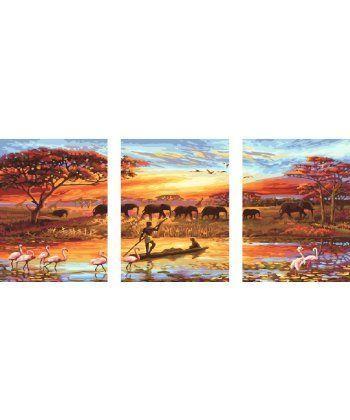 Картина по номерам Триптих Закат над Нилом Триптих 50 х 120 см (BK-PX5166)  - Фото 1