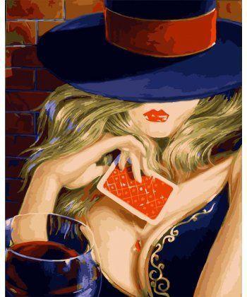 Картина по номерам Девушка с игральной картой 40 х 50 см (BK-GX22238)  - Фото 1