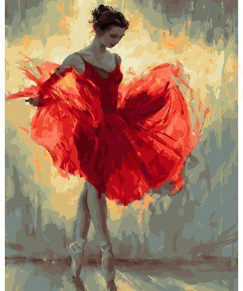 Картина по номерам Балерина в красном 40 х 50 см (BK-GX27269)  - Фото 1