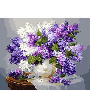 Картина по номерам Сирень в белой вазе 40 х 50 см (BK-GX3052)  - Фото 1