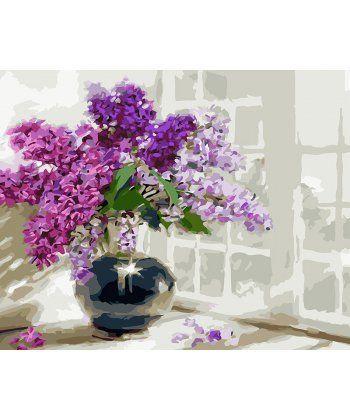 Картина по номерам Сирень в тёмной вазе 40 х 50 см (BK-GX3590)  - Фото 1