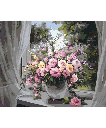 Картина по номерам Букет у распахнутого окна 40 х 50 см (BK-GX7343)  - Фото 1