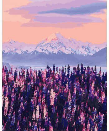 Картина по номерам Лавандовый вид на горы Новой Зеландии 40 х 50 см (BK-GX27967)  - Фото 1