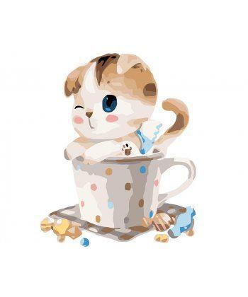 Картина по номерам Котенок в чашке 40 х 50 см (PGX8395)  - Фото 1