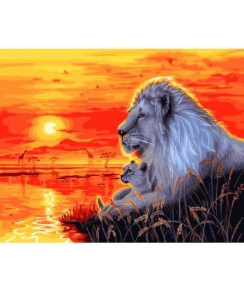 Картина по номерам Львы на закате 40 х 50 см (BK-GX21868)  - Фото 1
