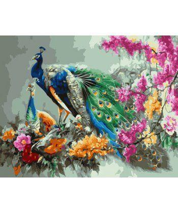 Картина по номерам Павлин в цветах 40 х 50 см (BK-GX23636)  - Фото 1