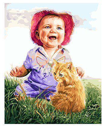 Картина по номерам Малыш и рыжий котик 40 х 50 см (BK-GX26178)  - Фото 1