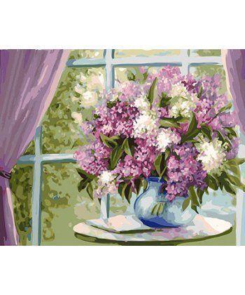 Картина по номерам Сирень на окне 40 х 50 см (BK-GX26468)  - Фото 1