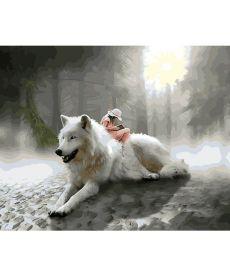 Картина по номерам Белый волк 40 х 50 см (BK-GX28308)